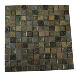 "Roman Collection Forest Trail W/ Deco Glass Tile - Roman Collection Forest Trail w/ Deco 1x1 Glass Tile These gorgeous mosaics are hand pressed and hand filled. Each glass chip are hand pressed . Chip Size: 1x1 Color: Green and Multicolor Material: Slate and Porcelain Shell Filled with Crushed Glass Finish: Crackled Glass and Colored Chips Enveloped in Porcelain and Polished Sold by the Sheet - each sheet measures 12""x12"" (1 sq. ft.) Thickness: 8mm"