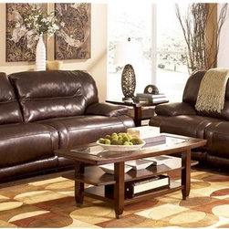 Moonglow by ivgStores - Reclining Loveseat and Sofa Set in Chocolate - Set includes Reclining Loveseat and Reclining Sofa. Material: Leather (47%) and Vinyl (53%). Color/Finish: Chocolate. Frames have been tested to GSA government standards. Corners are glued, blocked and stapled. Stripes and patterns are match cut. All fabrics are pre-approved for wearability and durability against AHMA standards. Cushion cores are constructed of low melt fiber wrapped over high quality Foam. Features Metal drop-in unitized seat box for strength and durability. All Metal construction to the floor for strength and durability. The reclining mechanism features infinite positions for comfort. Cocktail Table and End Table not included. Reclining Sofa: Assembly Instructions. Reclining Loveseat: Assembly Instructions. Seat Depth: 22 in.. Seat Height: 21 in.. Seat to Top Back: 24 in.. Reclining Loveseat: 71 in. W x 42 in. D x 41 in. H. Reclining Sofa: 94 in. W x 42 in. D x 41 in. H