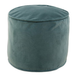 """Chooty - Chooty Cannes Trellis Simply Soft Collection 20"""" Round x 17"""" High Corded Beads H - Insert EPS Styrofoam Beads, Fabric Content Pile 100 Cotton, Color Aqua, Ottoman 1"""
