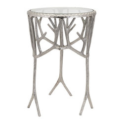 iMax - Castro Aluminum Branch Table - Like jewelry for a room, this glass-topped aluminum accent table finished in silver branches out beautifully into nature-inspired design.
