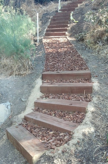Outdoor stairs on hillside - How to build a garage cheaply steps ...