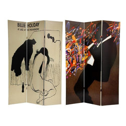 "Oriental Furniture - 6 ft. Tall Billie Holiday Double Sided Room Divider - The main image on this stunning screen features the Billie Holiday record cover ""Jazz at the Philharmonic"" as drawn by David Stone Martin, one of the most prolific and significant graphic designers of the postwar era. The opposite side features an abstract painting of a silhouette of a jazz man blowing his heart out, with Jackson Pollack like colorful splatter obscuring the instrument. If your tastes tend toward the unique, interesting, and distinctive, or if you love jazz, this folding floor screen may end up being one of your most prized decorative accessories for years to come. Room Dividers like this one are perfect for many uses such as a folding privacy screen, portable room partition, or focal point of a room. They are great for home, office, or small business."