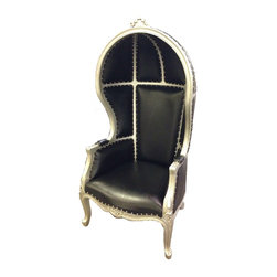 Solid Wood Canopy Chair, Silver/Black - This antique production chair is made of solid mahogany wood, and carved by hand. The canopy or dome style chairs are ornately carved on the arms and the top of the chair.