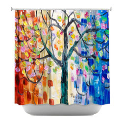 DiaNoche Designs - Shower Curtain Artistic - Surreal Blossom Tree - DiaNoche Designs works with artists from around the world to bring unique, artistic products to decorate all aspects of your home.  Our designer Shower Curtains will be the talk of every guest to visit your bathroom!  Our Shower Curtains have Sewn reinforced holes for curtain rings, Shower Curtain Rings Not Included.  Dye Sublimation printing adheres the ink to the material for long life and durability. Machine Wash upon arrival for maximum softness on cold and dry low.  Printed in USA.