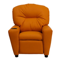 "Flash Furniture - Contemporary Orange Vinyl Kids Recliner with Cup Holder - Kids will now be able to enjoy the comfort that adults experience with a comfortable recliner that was made just for them! This chair features a strong wood frame with soft foam and then enveloped in durable vinyl upholstery for your active child. Choose from an array of colors that will best suit your child's personality or bedroom. This petite sized recliner will not disappoint with the added cup holder feature in the armrest that is sure to make your child feel like a big kid!; Child's Recliner; Overstuffed Padding for Comfort; Orange Vinyl Upholstery; Easy to Clean with Damp Cloth; Cup Holder in armrest; Solid Hardwood Frame; Raised Black Plastic Feet; Intended use for Children Ages 3-9; 90 lb. Weight Limit; Meets or Exceeds CA117 Fire Resistance Standards; Safety Feature: Will not recline unless child is in seated position and pulls ottoman 1"" out and then reclines; Assembly Required: Yes; Country of Origin: China; Warranty: 2 Years; Weight: 23.8 lbs.; Dimensions: 28""H x 24.5""W x 25 - 39""D"