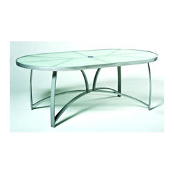 Woodard - 42 in. x 74 in. Wyatt Oval Dining Table - Frosted Glass - All products are made to order. Orders cannot be cancelled after 5 calendar days. If order is cancelled after 5 calendar days, a 50% restocking fee will be applied. Aluminum frame. 74 in. D x 42 in. W x 28.2 in. H (65 lbs.)