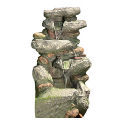 "Serenity Health & Home Decor - 34"" Rock Waterfall Fountain w/ LED Lights - Dimensions: 34""H x 18"" W x 17"" D; 35lbs"