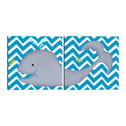 "Doodlefish - Wallace Whale Diptych - A Diptych is a set of two pieces of art that start on one side and continue to the other. This set of 18"" x 18"" Gallery Wrapped Giclee Prints feature a happy whale and a cute green fish. The background of the artwork is a bright turquoise and white chevron. You can also purchase this set with personalization and in several other colors."