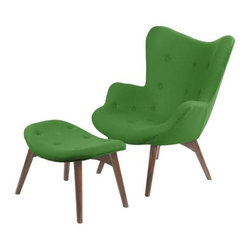 Contemporary Cashmere and Ash Wood Chair And Lounge Set, Green - Sit around, stylishly, with the Paddington Deux Lounge Set. Form and comfort meet in the mid-century modern design and luxurious styling. Upholstered in a cashmere blend and supported by solid walnut wood legs, this armchair makes for a cozy sitting experience in any space.