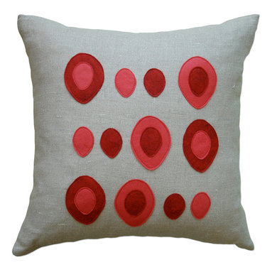 Balanced Design - Felt Appliqué Linen Pillow - Eggs, Red/Strawberry, 16x16 - Wool felt and linen may seem like an unlikely combo, but as you can see it works to charming effect. Toss this pillow into your mix to pump up the wit and whimsy of your decor.
