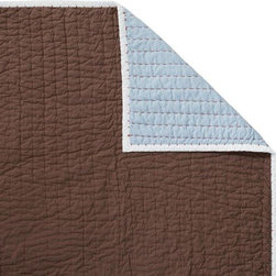 Serena & Lily - Chocolate/Chambray Cabin Quilt - The best of the basics, this all-cotton quilt is the perfect layer for warmer weather. The colors are great, and the running contrast stitch adds just the right amount of texture. Chocolate on one side, chambray on the reverse, with white binding and red contrast stitch.