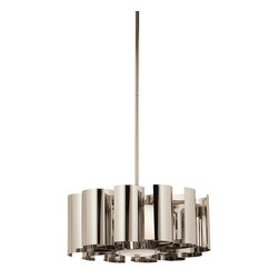 """Kichler Lighting - Kichler Lighting Ziva Modern / Contemporary Pendant Light X-NP53824 - Using Industrial Designs in contemporary residential settings continues to grow in popularity, and this pendant from the Ziva collection delievers. Emerging from a central drum of Satin etched Cased Opal glass, """"J"""" shaped turbine fins diffuse the light while the gleaming Polished Nickel surfaces refract and reflect. Overall Hgt: 48. Uses 1 100W max bulb (or 1 23-30W CFL). Sloped ceiling kit included."""