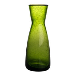 Abigails - Bubble Glass Carafe, Army Green - Hand blown carafe in a smart army green color. Don't just save it for decanting wine as it is great filled with seasonal flowers or backyard greens.