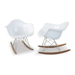 Nuevoliving - Nuevo Living Baha Lounge Chair - White - Aimed to inspire urban living, the Nuevo Baha rocking chair completely redefines today's rocker. Instead of wood, the frame is stainless steel. Instead of cushions, the seat and back are one continuous piece of molded fiberglass shining in a brilliant white. And although the bottom rockers are wood, they have a slim profile that's still very modern. All edges curve outward, offering a smooth surface for your body to rest on while chatting with artsy friends, skimming a magazine, or rocking to music. Fully assembled for your convenience, this casual-contemporary rocking chair will tell all visitors how up-to-date you really are.