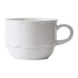Tuxton - Chicago 6 oz Stackable Cup Embossed in Porcelain White - Case of 36 - Chicago's traditional embossed design has the flexibility to be used for both casual and fine dining, appealing to the finest of tastes.