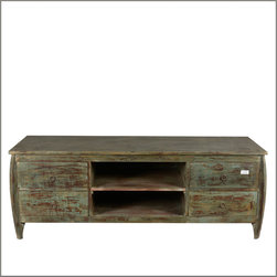 "63"" Rustic Reclaimed Wood Weathered TV Stand Media Console - This retro 50's entertainment cabinet has a rustic look and lots of room for all you media equipment. Out Beveled Sides TV Island is 63"" long so there's plenty of room for most televisions."