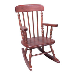 Gift Mark - Gift Mark Home Kids Deluxe Child's Spindle Rocking Chair Cherry - The Gift mark Hand Crafted Spindle Rocking Chair is Designed for Beauty and Durability. Each Spindle is Hand carved, with Great Detail. Each Spindle Rocking Chair is Crafted from Solid Wood. This Rocking Chair is built to Heirloom-Quality, and will be part of your Family for Generations. Extra Thick Seat. Easy to Assemble. Includes All Tools For Assembly.