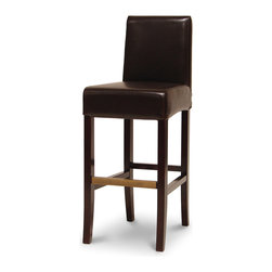 """Palecek - Hudson Leather Barstool with Brown Stitch, 30"""", Dark Brown - Plantation hardwood frame and legs. Fully upholstered in leather. Antique brass footrest. Available only as shown."""