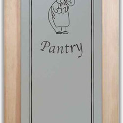"Pantry Doors, Pantry Door Happy Chef - PANTRY DOORS TO SUIT YOUR STYLE!  Glass Pantry Doors you customize, from wood type to glass design!   Shipping is just $99 to most states, $159 to some East coast regions, custom packed and fully insured with a 1-4 day transit time.  Available any size, as pantry door glass insert only or pre-installed in a door frame, with 8 wood types available.  ETA for pantry doors will vary from 3-8 weeks depending on glass & door type.........Block the view, but brighten the look with a beautiful obscure, decorative glass pantry door by Sans Soucie!   Select from dozens of frosted glass designs, borders and letter styles!   Sans Soucie creates their pantry door obscure glass designs thru sandblasting the glass in different ways which create not only different effects, but different levels in price.  Choose from the highest quality and largest selection of frosted glass pantry doors available anywhere!   The ""same design, done different"" - with no limit to design, there's something for every decor, regardless of style.  Inside our fun, easy to use online Glass and Door Designer at sanssoucie.com, you'll get instant pricing on everything as YOU customize your door and the glass, just the way YOU want it, to compliment and coordinate with your decor.  When you're all finished designing, you can place your order right there online!  Glass and doors ship worldwide, custom packed in-house, fully insured via UPS Freight.   Glass is sandblast frosted or etched and pantry door designs are available in 3 effects:   Solid frost, 2D surface etched or 3D carved. Visit or site to learn more!"