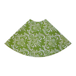 "5 Surry Lane - Green Damask Global Holiday Tree Skirt - Designer Holiday Tree Skirt.  54"" Round.  Fully lined."