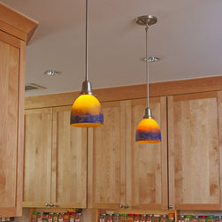 """Brass Light Gallery - Kitchen Island Lighting - Two Retro™ One Light Pendants with 2-1/4"""" shade holders light a kitchen island. Shown in Brushed Nickel finish with an Autumn Paté du Verre Bordeaux shade.  Product Code:  CN-417-A4-04M ."""