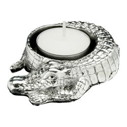 Arthur Court - Alligator Tea Light - You may not normally think of alligators as terribly bright. But this little guy is a shining example of the best of the species. And because that beautiful silvery shine is actually the result of sand-cast aluminum, which requires no polishing, you come off feeling pretty smart yourself.