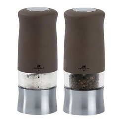 "Peugeot - Peugeot Zephir Electric Basalte Salt & Pepper Mill - This Peugeot Zephir Electric salt and pepper mill set features soft touch Basalte painted ABS with a brushed chrome finish and a contemporary ergonomic shape. Pepper grind is adjusted via a thumbwheel under the mill, salt mill is fixed at a medium grind. Size: 14cm / 5.5"" The entire Peugeot mill is guaranteed against manufacturing and materials defect for 2 years from the date of purchase, however the grinding mechanism carries a similar guarantee for lifetime. These guarantees do not cover normal wear, accidental damage or any use not in accordance with the instructions provided. Save 15% when you buy the Salt & Pepper grinder together!"