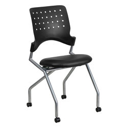 Flash Furniture - Flash Furniture Galaxy Mobile Nesting Chair with Black Leather Seat - Nesting chairs are ideal for learning, training and collaborative environments. The simple yet stylish design is comfortable enough for conference rooms. The flexible, perforated back provides relaxation and enhanced circulation. The curved back conforms to the user's back for exceptional support. The contoured seat dissipates pressure points for greater comfort. Seats easily flip-up, then roll chairs to nest together.