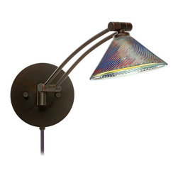 Besa Lighting - Besa Lighting 1WW-550493-CP Kona 1 Light Swing Arm Halogen Wall Sconce - The Kona pendant features a wide cone-shaped glass, that demonstrates contemporary sensibilities. Our Dicro glass is clear blown glass with a technologically advanced dichroic coating applied to the inside. The coating contains multiple micro-layers of metals that create unique optical properties, which effectively alter both the reflected and transmitted light. So unlit, it appears like a mirror; when lit, it becomes translucent with an array of multicolored blue-purple effects. The swing arm fixture includes a 12V electronic transformer and integrated full-range rotary dimmer. The adjustable arm assembly pivots for 130 degree rotation at the canopy, and swings up and down within 180 degree range.Features: