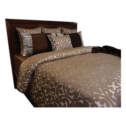Aimee Duvet Set, Ultra King - Mocha Brown and Chocolate Brown Damask pattern. Accented with rich Chocolate Brown and Platinum.