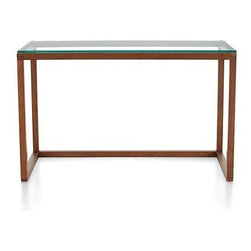 Anderson Desk - The workspace distills down to its geometric essence in an open frame of solid oak infused with a warm acorn hue that floats a desktop panel of cool, clear tempered glass. Clean uncluttered design presents a blank canvas for unique chair pairings and desk accessories.