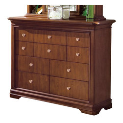 Lea Industries - Lea Elite Classics Bureau in Brown Cherry - Welcome to the Lea Elite collections, Classics. A clean, traditional group with Louis Phillipe design influences such as heavy moldings and bases with broad plasters. Tops and door panels on case pieces are accentuated with black marquetry style inlays. The finish is a medium brown cherry color. The custom designed hardware knobs are in a soft silver with gold color overtones. The design of this collection lends itself to fit into any bedroom setting: Boys, girls, 2nd bedroom or even smaller master bedrooms. Classics is a versatile group that offers a lasting style that works in multiple settings depending on bedding and accessories.