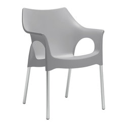 Eurostyle - Ola Armchair (Set of 4) - Gray/Aluminum - Recyclable polypropylene shell