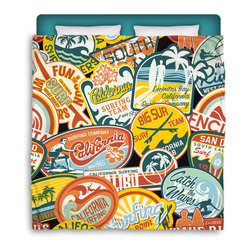 "Made In USA  ""California Vintage Stickers"" Surfer Bedding F/Q Comforter - Surf Into Bed with this F/Q ""California Vintage Stickers"" Premium Comforter From Our Surfer Bedding Bed and Bath Collection."