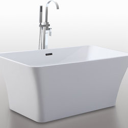 "HelixBath Parva Freestanding Acrylic Bathtub 59"" White w/ Overflow - The curves and lines are well conceived & uncomplicated. Exquisite in design, Parva is specifically tailored to provide an ergonomic, comfortable spa experience. Faucets pictured are for display purposes and not included with this tub. Designs created for bathing purists. The curves and lines are well conceived & uncomplicated. Helixbath�s well tailored soaking tubs provide an ergonomic comfortable spa experience. Featuring an easy to clean 3M Fade Resistant finish and stainless steel frame, Parva is the very definition of beautiful longevity."