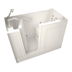 American Standard - 28 inch x 48 inch Walk-In Whirlpool Tub with Left Drain in White - American Standard 2848.100.WLW 28 inch x 48 inch Walk-In Whirlpool Tub with Left Drain in White. At American Standard, it all begins with our unmatched legacy of quality and innovation that has lasted for more than 130 years. It is this tradition of quality and innovation that puts us in three out of five homes in America, as well as, countless hotels, airports, and stadiums. We provide the style and performance that fit perfectly into life, wherever that may be. American Standard walk-in baths offer a patented low-entry walk-in door system, built in chair-height seat, deep soaking dimensions, low step-over threshold, and the most advanced water based therapy system.American Standard 2848.100.WLW 28 inch x 48 inch Walk-In Whirlpool Tub with Left Drain in White, Features:Built-in chair height seat
