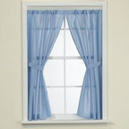 Carnation Home Fashions, Inc. - Fabric Bathroom Window Curtain - Bring a complete look to your bathroom with these water-repellant curtains. Panels come in pairs and with matching tiebacks.