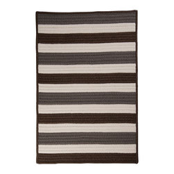 """Colonial Mills, Inc. - Indoor/Outdoor Portico, Stone Rug, Sample Swatch - Roll it out and let this striped rug speak for itself. The simple, yet strong colors welcome poolside parties with hassle-free care!  Material: 100% Polypropylene  Construction: Braided  Features: Stain/Fade Resistant, Reversible, Made in USA  14""""x17"""""""