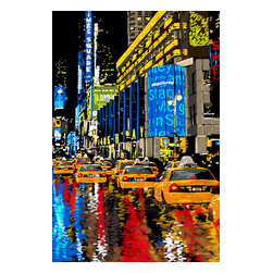 """Maxwell Dickson - Maxwell Dickson """"Rainy Nights"""" Times Square New York Canvas Print Artwork - We use museum grade archival canvas and ink that is resistant to fading and scratches. All artwork is designed and manufactured at our studio in Downtown, Los Angeles and comes stretched on 1.5 inch stretcher bars. Archival quality canvas print will last over 150 years without fading. Canvas reproduction comes in different sizes. Gallery-wrapped style: the entire print is wrapped around 1.5 inch thick wooden frame. We use the highest quality pine wood available."""