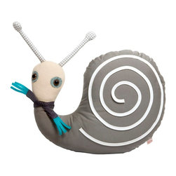 OOTS! - Simon Snail Music Box - We hope you're not in a rush — once you meet slow-paced Simon Snail, you might not be able to stop cuddling him. Festooned with a jaunty scarf and gingham antennae, Simon ambles along to the gentle tune of his hidden music box. He's made of cotton and entirely washable so you can feel good about bringing a new friend home.