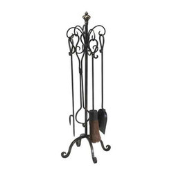 Scroll Hearth Stand and Tools 4-Piece - Scroll Hearth Stand And Tools