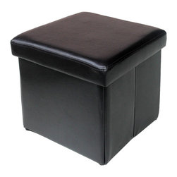Modus Furniture International - Urban Seating Folding Storage Cube in Chocolate Leatherette - We created the Urban Seating collection to provide stylish, affordable seating and storage options throughout the home. Great around a table, in a foyer, a game room or a den, chairs are engineered for easy assembly using durable 9 bolt grooved corner block construction and feature web seat cushions for extra comfort. Storage cubes and benches ship fully assembled and feature padded tops, upholstered interiors and built-in wood serving trays. The cubes and benches are a smart accent to any room of the house and are great for storing bed linens, shoes, toys, magazines, gaming accessories and other household clutter. All Urban Seating products are available in a supple leatherette that's durable, stylish and easy to clean.