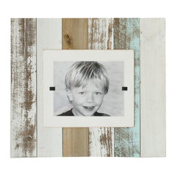 """White Wash Reclaimed Wood Frame - Now available in a Cape Code style white wash - our extra large frames (22"""" x 22"""") crafted of weathered and painted wood have a cream colored interior frame to feature an 8"""" x 10"""" photo. Easy front loading, clamping system under Plexiglas makes photo updates a breeze. Order with or without outside frame."""