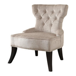 Ave Six - Button Tufted Chair in Parchment Cream - Vintage style