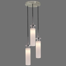 "Sonneman Lighting - Candle Multi-Light Pendant by Sonneman Lighting - The Sonneman Candle Multi-Light Pendant features a cluster of three or five etched and cased White glass shades. The shades' cylindrical shape and warm diffused light make them worthy of the ""Candle"" name. The accompanying metal surfaces are available in either a soft Satin Nickel or glossy Polished Nickel.Sonneman A Way of Light is the namesake of founder and lighting designer Robert Sonneman. It was formed to create contemporary lighting that best exemplifies today's cosmopolitan American style. Sonneman Lighting fixtures are elegant and refined, decidedly modern yet clearly influenced by classic 20th century period styles.The Sonneman Candle Multi-Light Pendant is available with the following:Details:Cylindrical Etched White Cased glass shadesMetal supportsRound ceiling canopy120"" field-cuttable suspension cordUL ListedOptions:Number of Lights: 3 Lights, or 5 Lights.Finish: Polished Chrome, or Satin Nickel.Lighting:3 Lights option utilizes three 60 Watt 120 Volt Candelabra Base Incandescent lamps (not included).5 Lights option utilizes five 60 Watt 120 Volt Candelabra Base Incandescent lamps (not included).Shipping:This item usually ships within 3 to 5 business days."