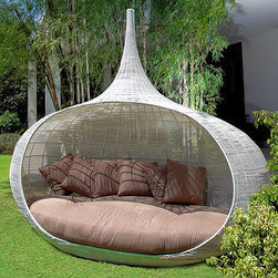 Onion Daybed - No doubt this onion-shaped daybed is a wish-list item, but it deserves a look for its fantastic design. The oval structure and plush bedding create a cocoon-like environment for relaxing, while the open weave allows airflow, which will keep you comfortable for longer. As for the finish on the top, a bit of fantasy is always welcome, isn't it?