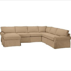 """PB Basic Right 4-Piece Chaise Sectional Slipcover, Brushed Canvas Walnut - Designed exclusively for our PB Basic Sectional, these easy-care slipcovers have a casual drape, retain their smooth fit, and remove easily for cleaning. Select """"Living Room"""" in our {{link path='http://potterybarn.icovia.com/icovia.aspx' class='popup' width='900' height='700'}}Room Planner{{/link}} to select a configuration that's ideal for your space. This item can also be customized with your choice of over {{link path='pages/popups/fab_leather_popup.html' class='popup' width='720' height='800'}}80 custom fabrics and colors{{/link}}. For details and pricing on custom fabrics, please call us at 1.800.840.3658 or click Live Help. All slipcover fabrics are hand selected for softness, quality and durability. {{link path='pages/popups/sectionalsheet.html' class='popup' width='720' height='800'}}Left-arm or right-arm configuration{{/link}} is determined by the location of the arm on the love seat as you face the piece. This is a special-order item and ships directly from the manufacturer. To view our order and return policy, click on the Shipping Info tab above."""