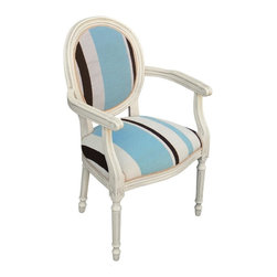 123 Creations - Stripes, Wool Needlepoint Wooden Armchair. Antique white wash. - This hand-crafted Louis 16 armchair is upholstered with hand-needlepoint pieces. It accents your rooms and provides beautiful extra seating.