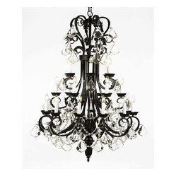 "The Gallery - Large Foyer / Entryway Wrought Iron Chandelier 50"" Inches Tall With Crystal! H50 - Wrought Iron Chandelier. A Great European Tradition. Nothing is quite as elegant as the fine chandeliers that gave sparkle to brilliant evenings at palaces and manor houses across Europe. This beautiful chandelier from the Versailles Collection has 24 lights. The frame is Wrought Iron, adding the finishing touch to a wonderful fixture. The timeless elegance of this chandelier is sure to lend a special atmosphere anywhere its placed! Please note this item requires assembly. This item comes with 18 inches of chain. Size: H.50"" W.30"" 24 LIGHTS. Lightbulbs not included"
