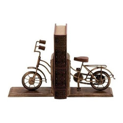 """Benzara - Bookend Sporting A Cycle Shaped Design - Bookend Sporting A Cycle Shaped Design. Its beautiful, deliberately tarnished finish and exquisite craftsmanship are sure to please anyone's eye. It comes with the following dimensions 7""""W x 3""""D x 9""""H (Open). 14""""W x 3""""D x 9""""H (Pair)."""